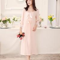 Sleepshirts Cotton Dress Women Nightgowns Sleepshirts 2018 New Arrival Spring Summer Nightdress Princess Nightwear White Pink