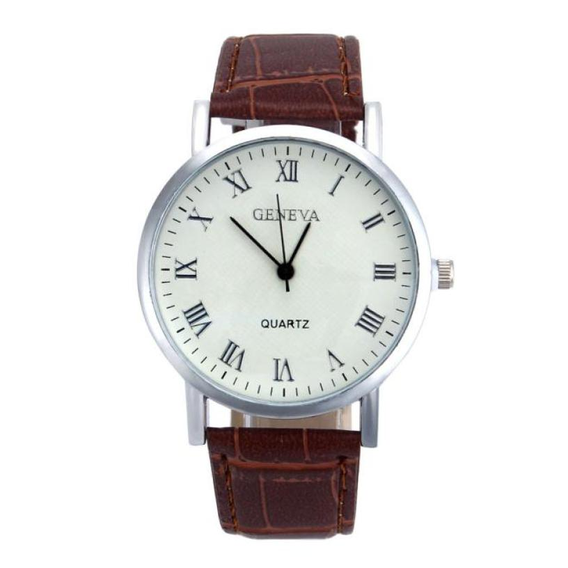 Men's And Women's Fashion Luxury Leather Business Round Watch Analog Quartz Sports Watch Classic Perfect Gift Geneva Watch #F
