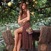 Weljuber Women Boho Maxi Split Dress 2018 Women V Neck Bohemia Long Dresses High Quality Brand