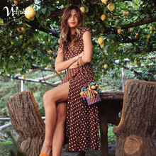 Weljuber Women Boho Maxi Split Dress 2018 Women V-Neck Bohemia Long Dresses High Quality Brand Vintage Beach dresses