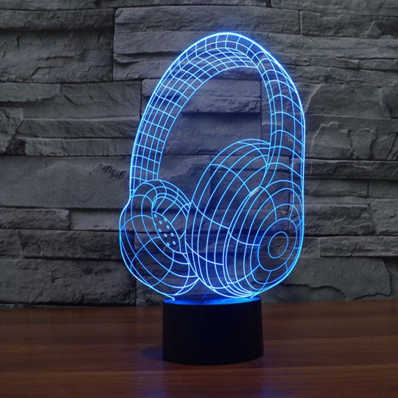 Free Shipping fantastic design 3D DECOR earphone shape creative night Light cool lamp Atmosphere Light as Home Decoration creative home decoration roses shape led night light