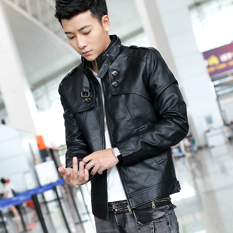 New Mens Casual Fashion Leather Bomber Jackets Outwear Slim Zipper PU Leather Clothing Motorcycle Leather Jackets Cool