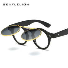 Unisex Summer Sunglasses Flat Top Thin Round Sun Glasses Rock Clear Lens Eyewear Clip On Lentes Men jr6207