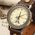 Padrão Da Torre Eiffel do vintage Moda Casual Relógios de Luxo Da Marca Pulseira de Couro Rebites Deco Pulseira Mulheres Relógio Relogio Femilino
