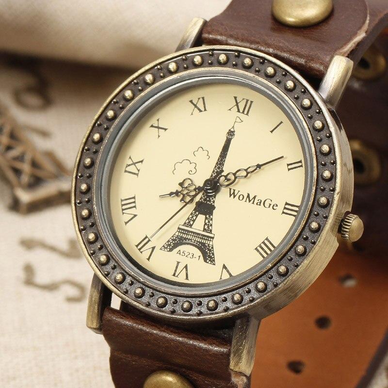 Vintage Eiffel Tower Pattern Casual Fashion Watches Luxury Brand Leather Strap Rivets Deco Bracelet Watch Women