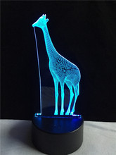2017 African Animal Giraffe 3D USB LED Lamp 7 Color Changing Mood Night Light Kids Toys Eyes Care Warm Bedroom Gadget Props Gift