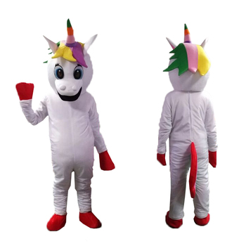 Rainbow Pony Unicorn mascot magic Mascot Costume Cartoon Character Horse mascot costume mascotte for Christmas Fancy party Dress