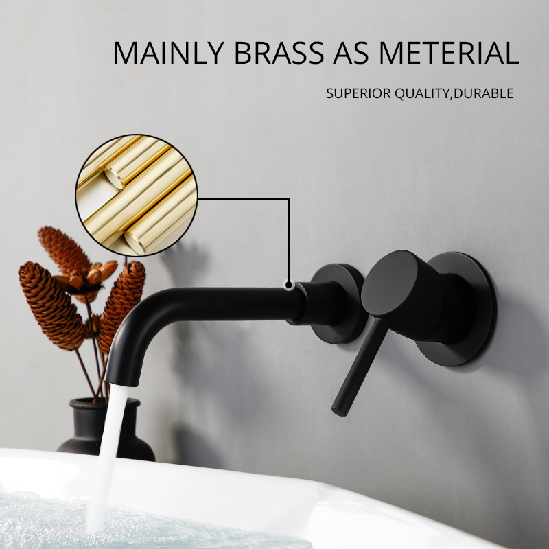 Wholesale And Retail Modern Wall-Mount Mixer Tap Bathroom Sink Faucet Swivel Wall Spout Bath With Single Lever Basin Faucet 1085