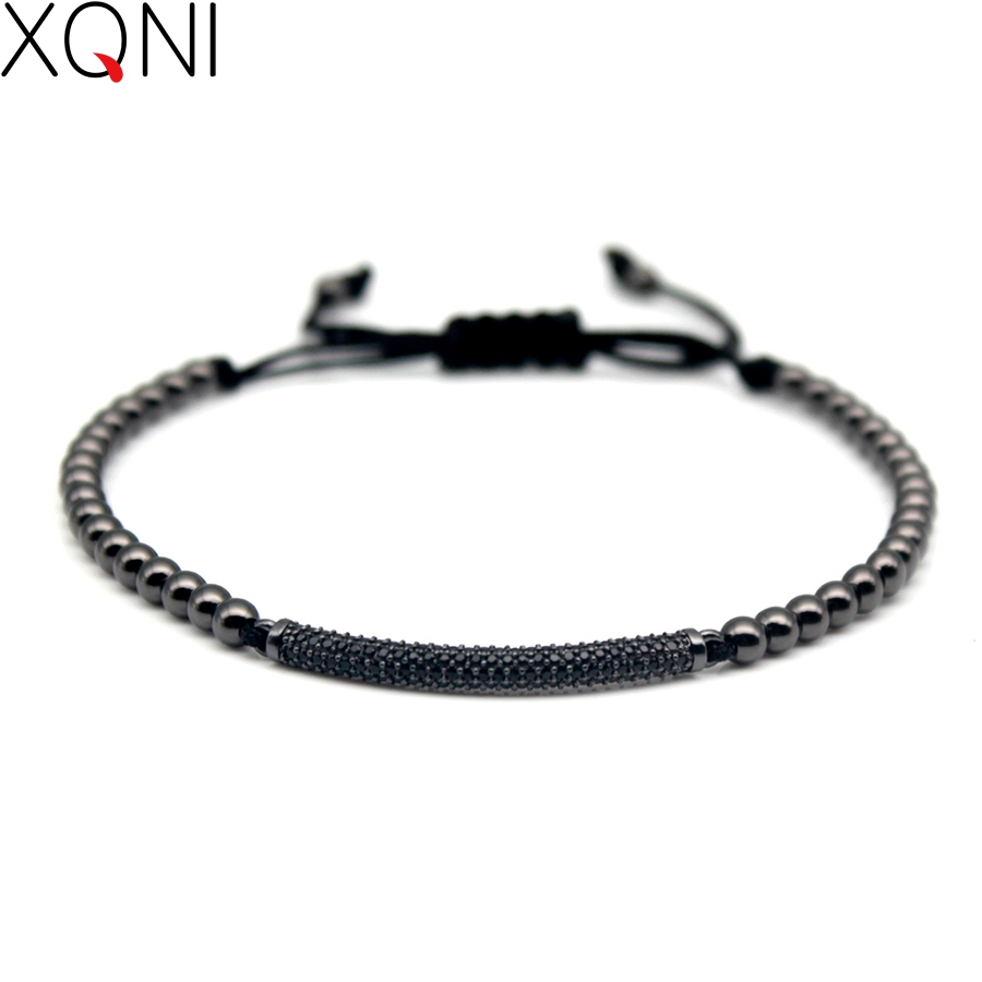 Top Fashion Cubic Zirconia Charm Men's Bracelets Famous Boys Micro Pave Trendy Braiding Strand Black Macrame Beads Bracelets.