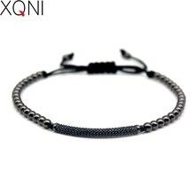 Top Fashion Cubic Zirconia Charm Men's Bracelets Famous Boys Micro Pave Trendy Braiding Strand Black Macrame Beads Bracelets.