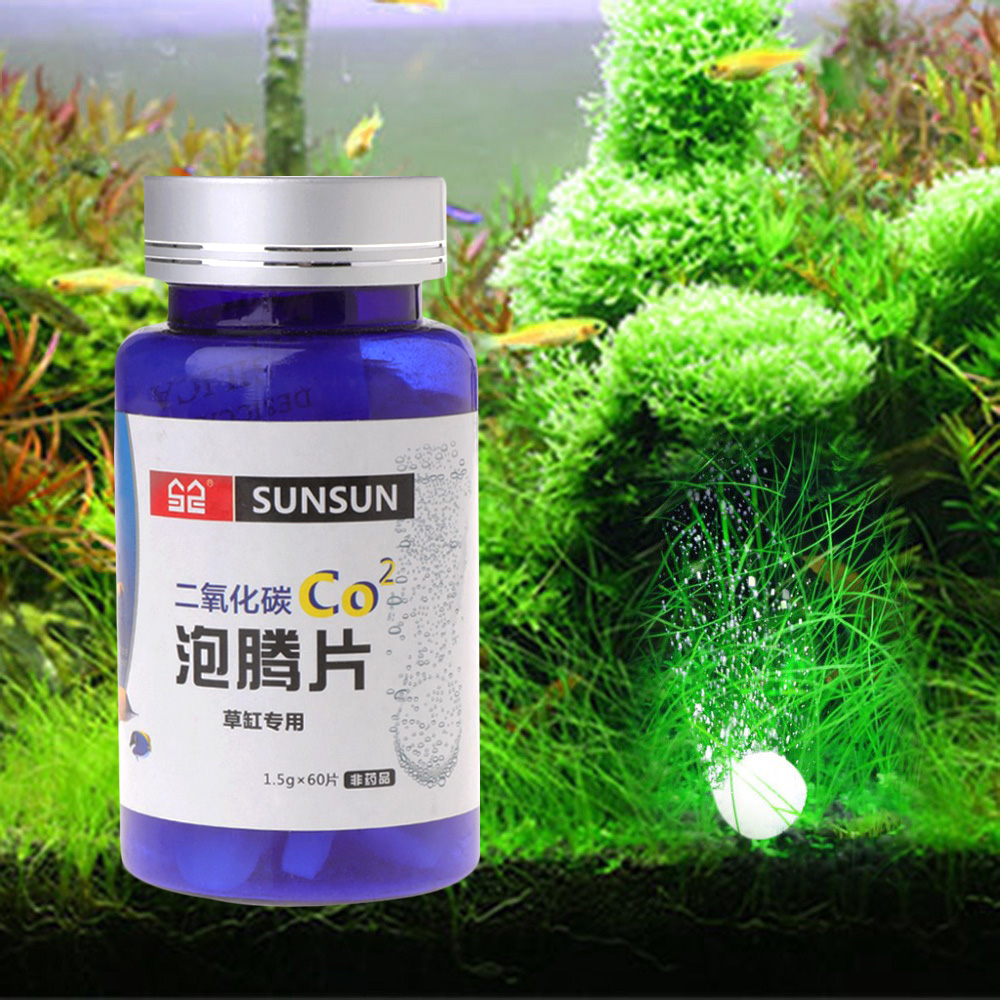 SUNSUN 60PCS Aquarium CO2 Carbon Dioxide Tablets For Plants Aquarium Fish Tank Diffuser Live Water Grass CO2 Aquarium Accessory