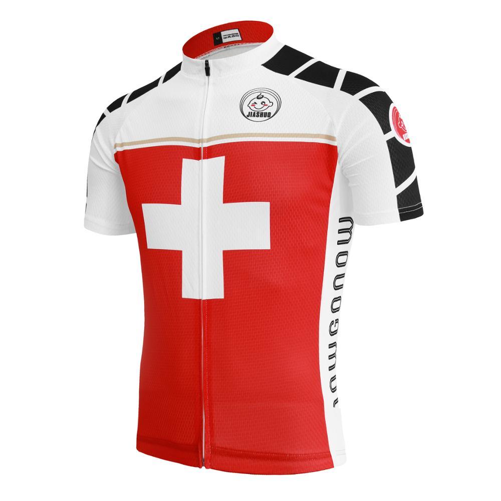 Prix pour 2017 NEW Summer hommes de Maillots de cyclisme VTT/route Vélo vêtements équipe rouge et blanc Vélo Vêtements bike wear Polyester 100%