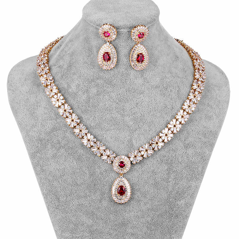 WEIMANJINGDIAN New Arrival Luxury Cubic Zirconia CZ Crystal Necklace & Earring Wedding Jewelry Set for Bride or Bridesmaid