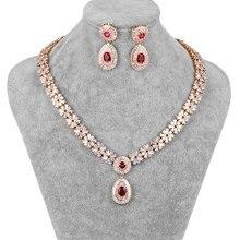 WEIMANJINGDIAN Neue Ankunft Luxus Zirkonia CZ Kristall Halskette & Ohrring Hochzeit Schmuck Set für Braut oder Brautjungfer