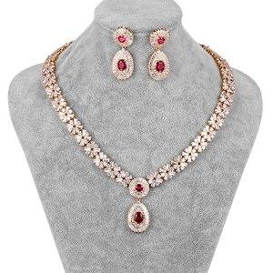 Image 1 - WEIMANJINGDIAN New Arrival luksusowy kwadratowe cyrkonie CZ kryształowy naszyjnik i kolczyki zestaw biżuterii ślubnej dla panny młodej lub druhny
