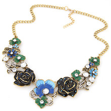 Kymyad Collier femme Choker Necklace Women Enamel Flower Necklaces & Pendants Maxi Colar Bijoux Statement Necklace Jewelry