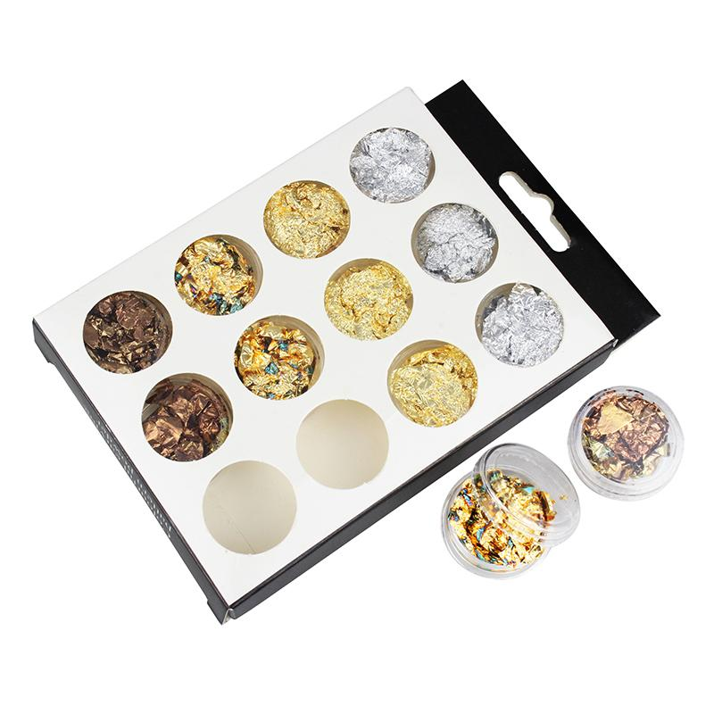 Colorful Gold Silver 4 Colors Tinfoil 3D Nail Art Decorations Glitters DIY Stickers Nails Studs ZP115 50 pcs set 3d nail art decorations glitters diy nail tools full rhinestones silver crown crystal nails studs1