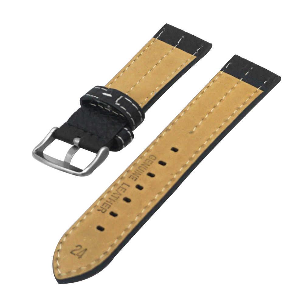 YQI นาฬิกาหนังแท้ 22 มม.24 มม.26 มม.นาฬิกาสีดำนาฬิกาสำหรับบุรุษนาฬิกาสปริงบาร์