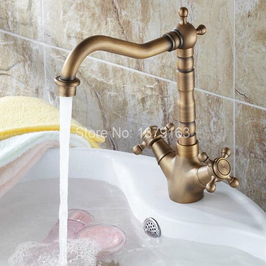 Vintage Retro Antique Brass Swivel Spout Double Cross handles Kitchen Bar Bathroom Vessel Sink Basin Faucet Mixer Tap anf078 gold color brass dual handles kitchen sink mixer tap bathroom basin mixer tap swivel spout wsf094