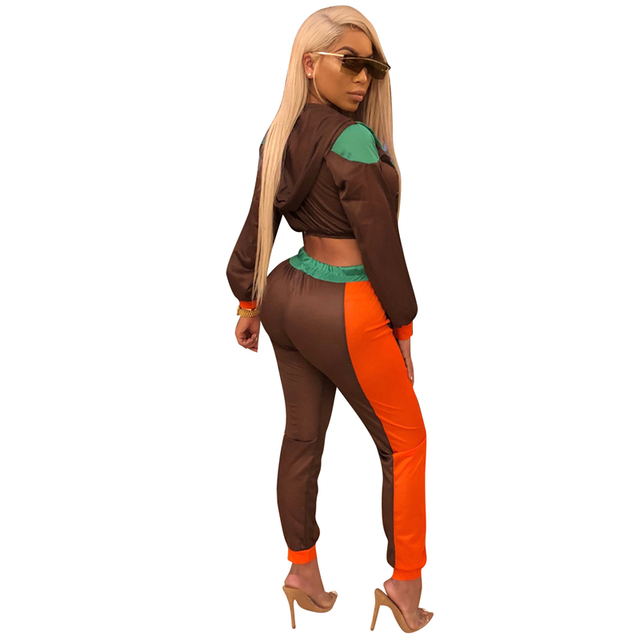 Adogirl Multi Color Patchwork Women Tracksuits Zipper Long Sleeve Hooded Jacket Top + Fitness Pants Sporting 2 Piece Set Outfits
