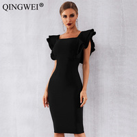 QINGWEI 2019 New Summer Women Celebrity Party Bandage Dress Vestido Sexy Black Ruffles Butterfly Sleeve Bodycon Club Dress
