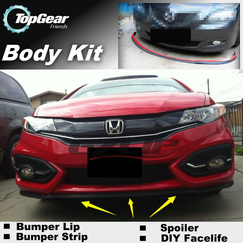 For HONDA Jazz Fit Type R Bumper Lip Lips / Top Gear Shop Spoiler For Car Tuning / TOPGEAR Body Kit + Strip