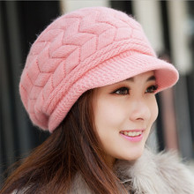 Newest Hot Sale Elegant Women's Knitted Hats Rabbit Fur Cap Autumn Winter Ladies Female Fashion Skullies Warm Hat Wholesale