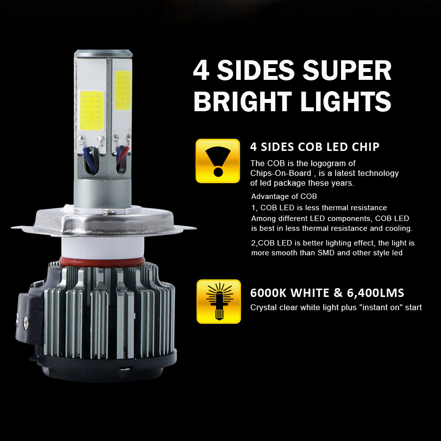 120W 12800lm 4 Sides COB LED Headlight HB5 9007 Hi/Low Beams Bulb 6000K One Pair