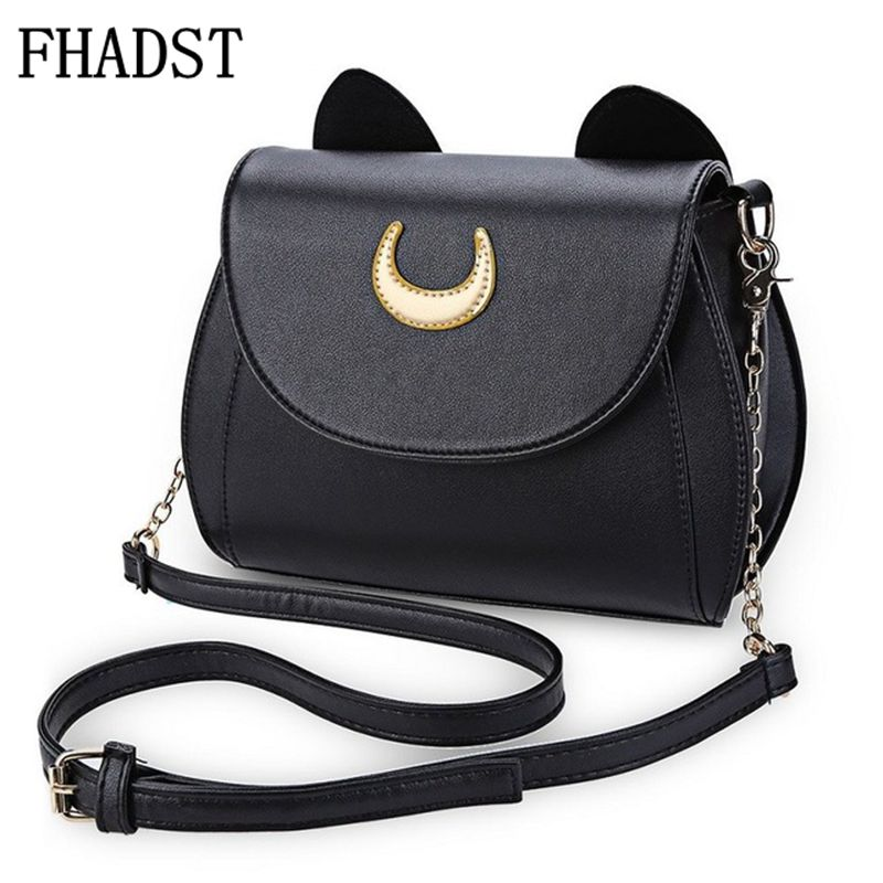 FHADST Summer Sailor Moon Ladies Handbag Black Luna Cat Shape Chain Shoulder Bag PU Leather Women Messenger Crossbody Small Bag