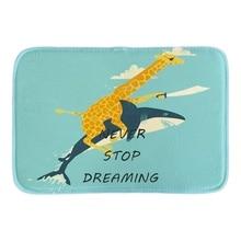 Cartoon Doormats Decor With Pirate Giraffe Riding Shark Door Mats Cute Home Mat Soft Lighteness Short Plush Fabric Bathroom Mats