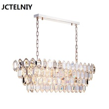 Modern crystal chandelier shiny gold luxury long bedroom restaurant study villa LED
