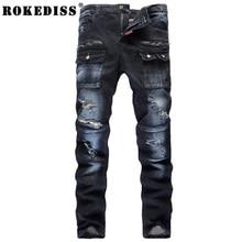 Мужская мода карманные отверстие рваные джинсы Повседневная лоскутная тонкий прямой темно-синие джинсовые брюки Длинные брюки мода одежда TE019