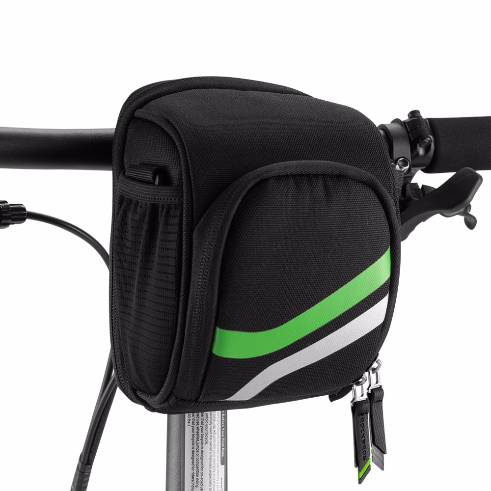 ROCKBROS Bike Front Bag Cycling MTB Folding Frame Handlebar With Rain Cover Tube