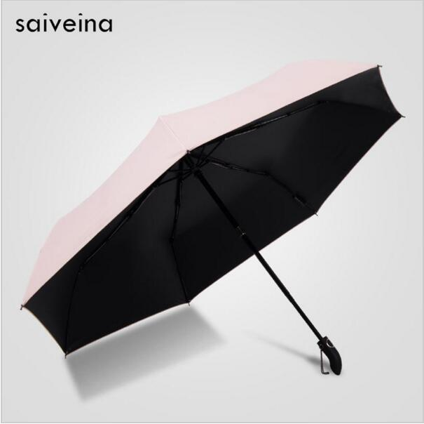 SAIVEINA Pongee Waterproof Anti UV Sun Protection Parasol Full Automatic Open Close Black Coating Women Rain Umbrellas Korean in Umbrellas from Home Garden