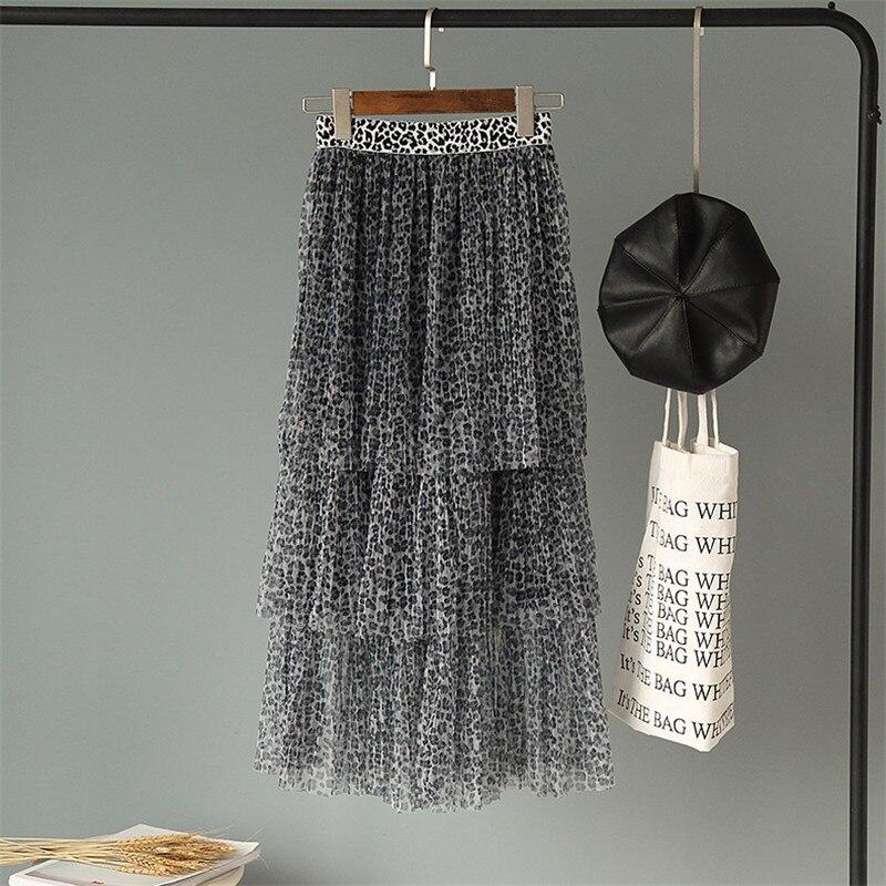 2019 Korean new Spring Spring new Korean layer cake skirt sexy leopard bottom skirt swing long mesh gauze skirts clothes