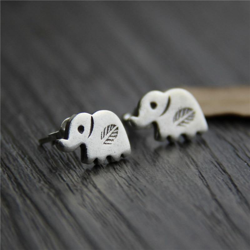 C&R Real S925 Stud Earrings for Women Cute Mini Elephant Thai Silver Earrings Handmade Vintage Fine Jewelry