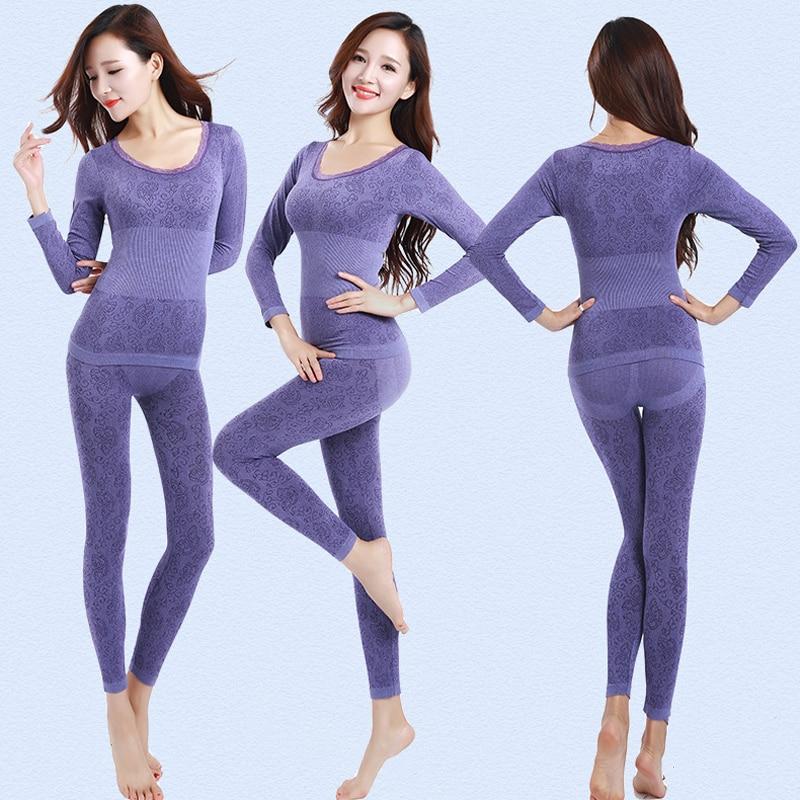 Queenral תרמית תחתוני נשים תחתונים ארוכים לנשים חורף תרמית חליפת תחתונים ללא תפרים לנשימה חם תרמית בגדים