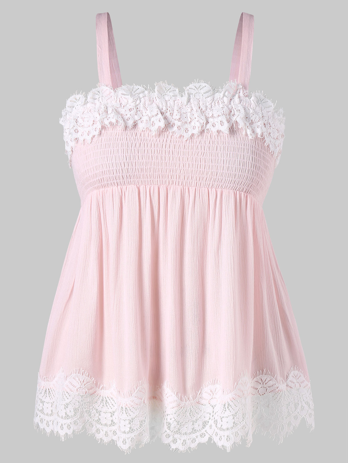 Wipalo Plus Size 5XL Eyelash Lace Trim Smocked Tank Top Women Summer Sleeveless Square Neck Crinkle Tank Top Women Clothes