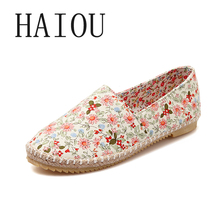 Fashion Spring Women Espadrilles Casual Flats Loafers for Women Slip on Shoes Floral Print Shoes Blue Canvas Shoes Blue Big Size