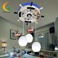 Controle remoto do leme Mediterrâneo Pingente Luzes LED E27 luminária suspensão iluminação menino quarto quarto das crianças