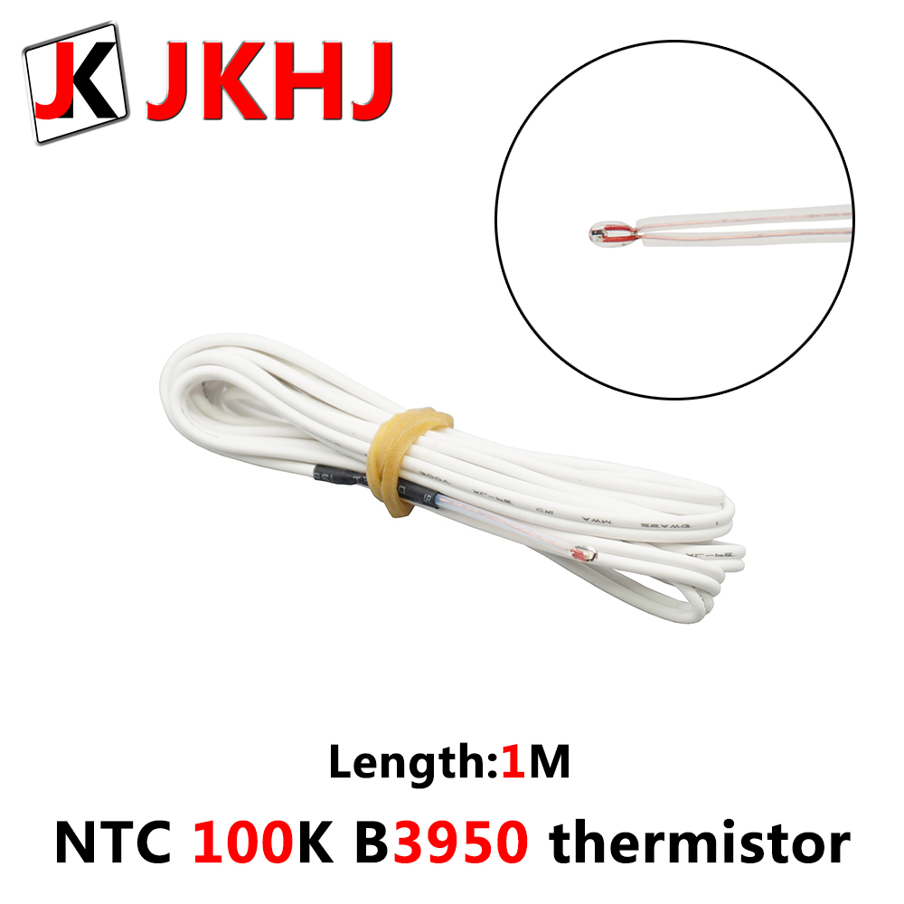 <font><b>NTC</b></font> <font><b>100K</b></font> B3950 <font><b>Thermistor</b></font> 3D Printer Parts hotend Glass sealed type 1% High accuracy Temperature Sensor for MK8 heated length 1M image