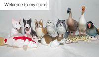 mini pvc figure Simulation Animal Model Rabbit Dog Fish Cat Parrot Animal Capsule Toy 17pcs/set