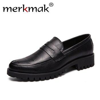 16c2870e Merkmak zapatos de charol de calidad para Hombre Tallas grandes 47 48  Zapatos de vestir de cuero negro suave Zapatos de vestir de fondo grueso  plano clásico ...