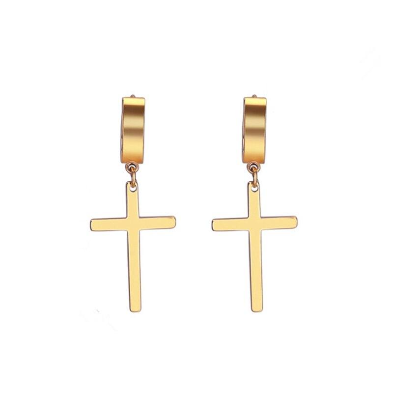 Cross earrings man woman fashion earring cross pendant ear piercing jewelry 1 pair Пирсинг ушей