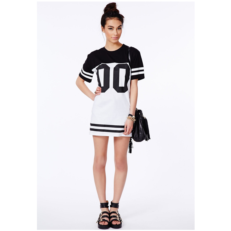 Aliexpress.com : Buy Monochrome Baseball Dress Loose Long T Shirt ...