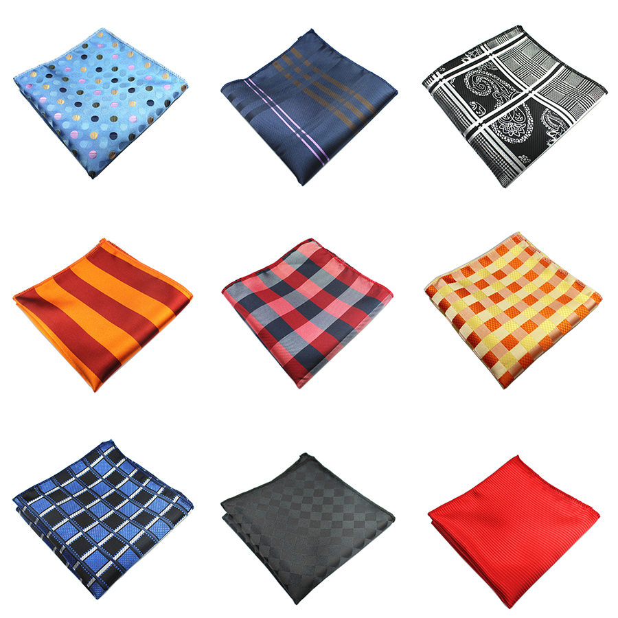 Ricnais Men Handkerchiefs Silk Woven Plaid Striped Pattern Hanky Men's Business Casual Square Pockets Wedding Hankies