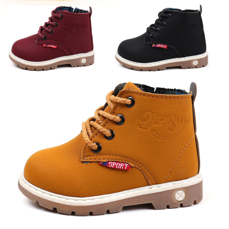 Children Shoes Matin Boys Boots Autumn Winter Leather Warm Fashion Girls Boots Gentleman Rome Non-slip Kids Boots For Boys Girls