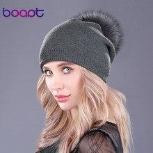 Boapt Natural de piel de mapache pompón sombrero grueso de invierno para  mujer 31a45be3a98
