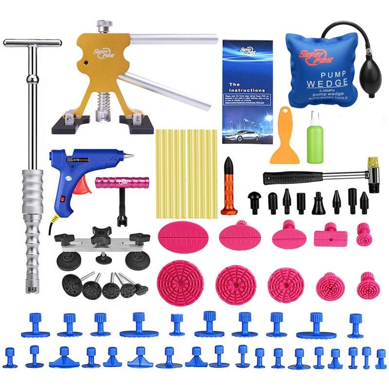 PDR инструменты кузова Paintless комплект для ремонта вмятины обратный hammer Dent экстрактор съемника набор инструментов для удаления присоской для ...
