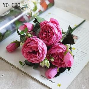 Image 3 - YO CHO de rosas artificiales de peonía, ramo de flores de seda para decoración de boda, peonías blancas, rosas rojas, falsas